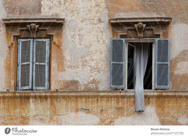 Rapunzel, lass den Vorhang runter! Ferien & Urlaub & Reisen Häusliches Leben Wohnung Trastevere Rom Italien Haus Mauer Wand Fassade Fenster Stein alt entdecken
