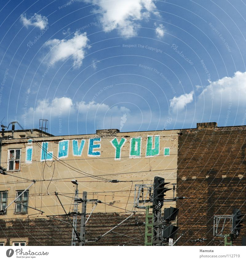 Heart of the City Wand Liebeserklärung Berlin Graffiti Roof top I Love You Tag