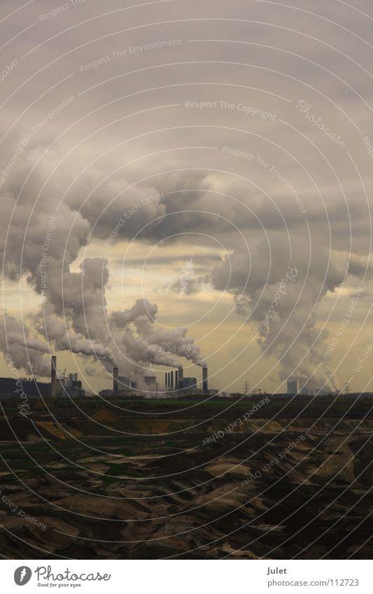 KRAFTWERK Wolken Industrie Schornstein Demontage Wasserdampf Stromkraftwerke Kunstwerk Bergbau Braunkohlentagebau