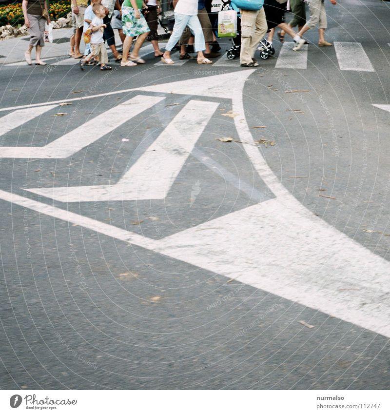 wohin geht es? Mensch Kind grün Sommer Straße grau Fuß Wege & Pfade Schuhe gehen Schilder & Markierungen Verkehr stehen Streifen Hose Menschenmenge