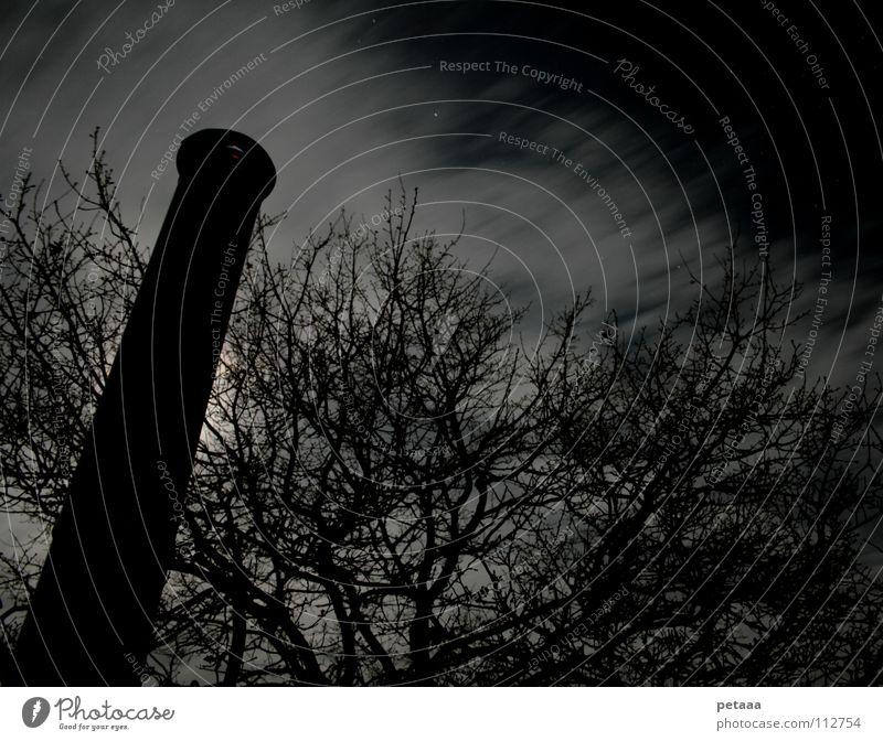 Kevin Pascal Wolken Nacht Baum Langzeitbelichtung Nachthimmel Himmel Mond Schornstein Eisenrohr Ast