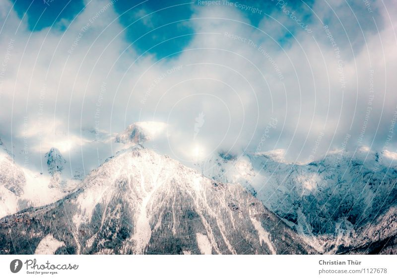 Alpen / Rauch Natur Ferien & Urlaub & Reisen Erholung Landschaft Wolken ruhig Ferne Winter Berge u. Gebirge Umwelt Leben Schnee Sport Tourismus Zufriedenheit