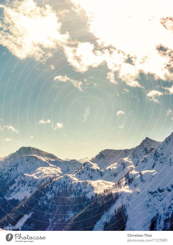Sonnenstrahlen / Alpen Natur Ferien & Urlaub & Reisen Erholung Landschaft Wolken ruhig Ferne Winter Berge u. Gebirge Umwelt Schnee Tourismus Zufriedenheit Ausflug Klima beobachten