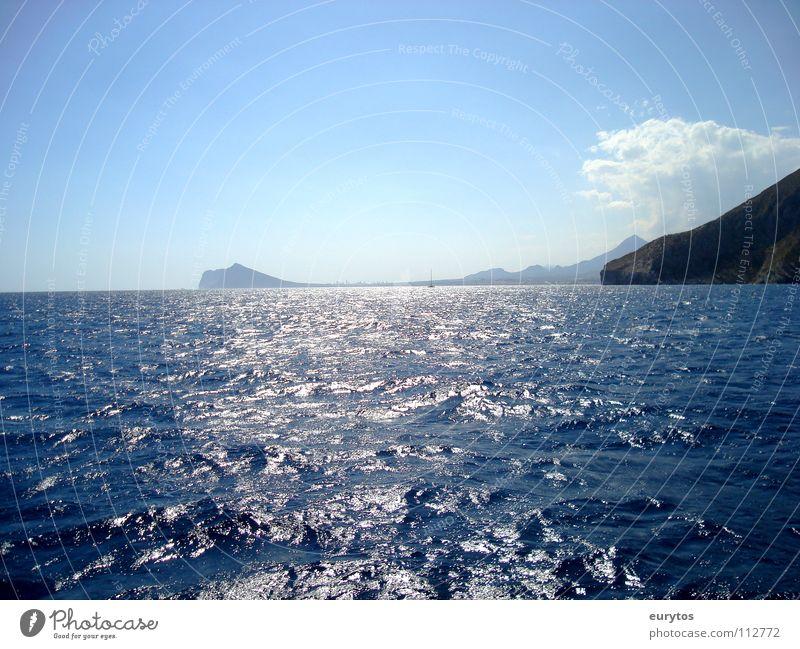 into the blue Wasser Himmel Sonne Meer blau Sommer Ferien & Urlaub & Reisen Wolken Ferne Berge u. Gebirge Landschaft Wellen Küste nass Horizont Spanien
