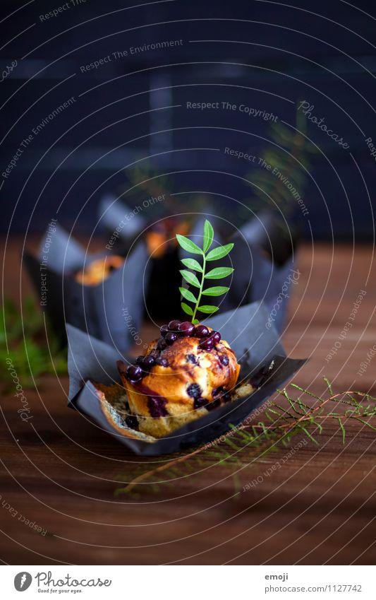 Ricotta-Blueberry-Muffin Kuchen Dessert Süßwaren Ernährung Büffet Brunch Picknick Fingerfood lecker süß blau Farbfoto Innenaufnahme Menschenleer Tag Low Key