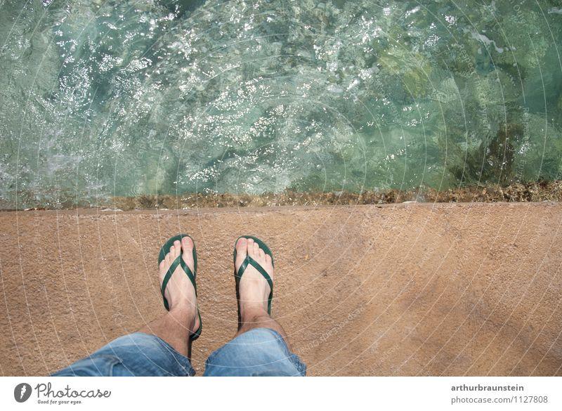 Am Meer Mensch Ferien & Urlaub & Reisen Jugendliche Mann Wasser Sommer Sonne Junger Mann 18-30 Jahre Erwachsene Glück Schwimmen & Baden maskulin Angst