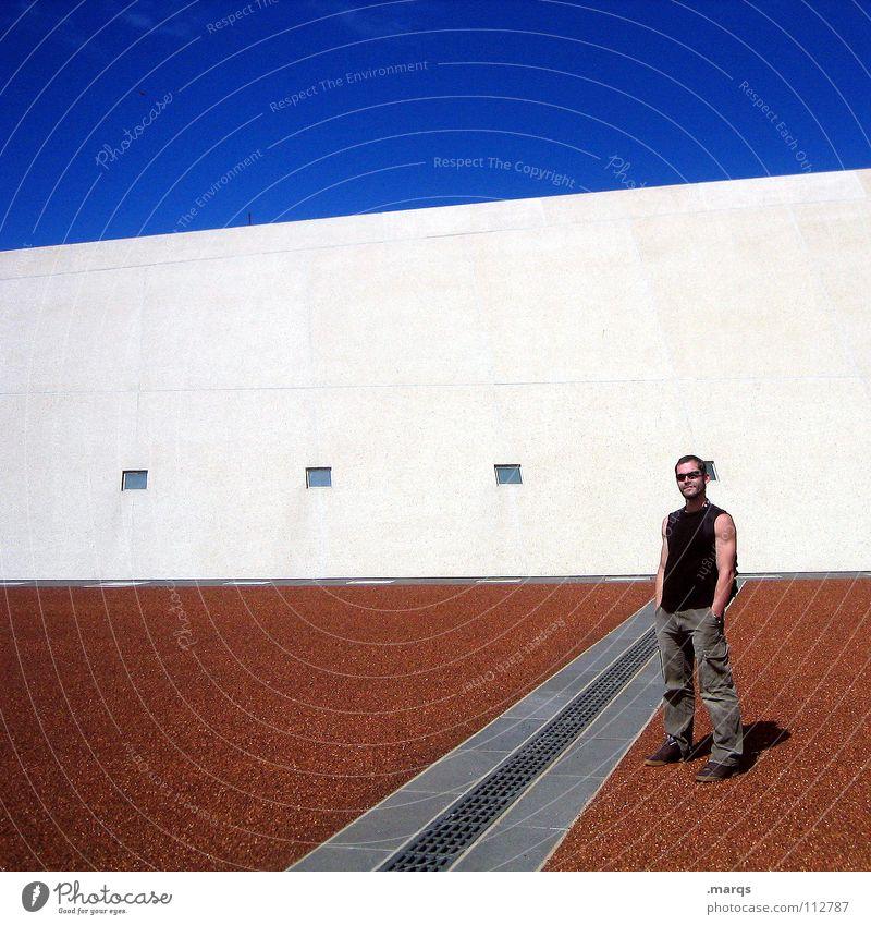 Moi Mann stehen Sonnenbrille Platz Wand Fenster Quadrat grau schwarz weiß rot braun Sommer Ferien & Urlaub & Reisen Canberra Verkehrswege Australien Mensch ich