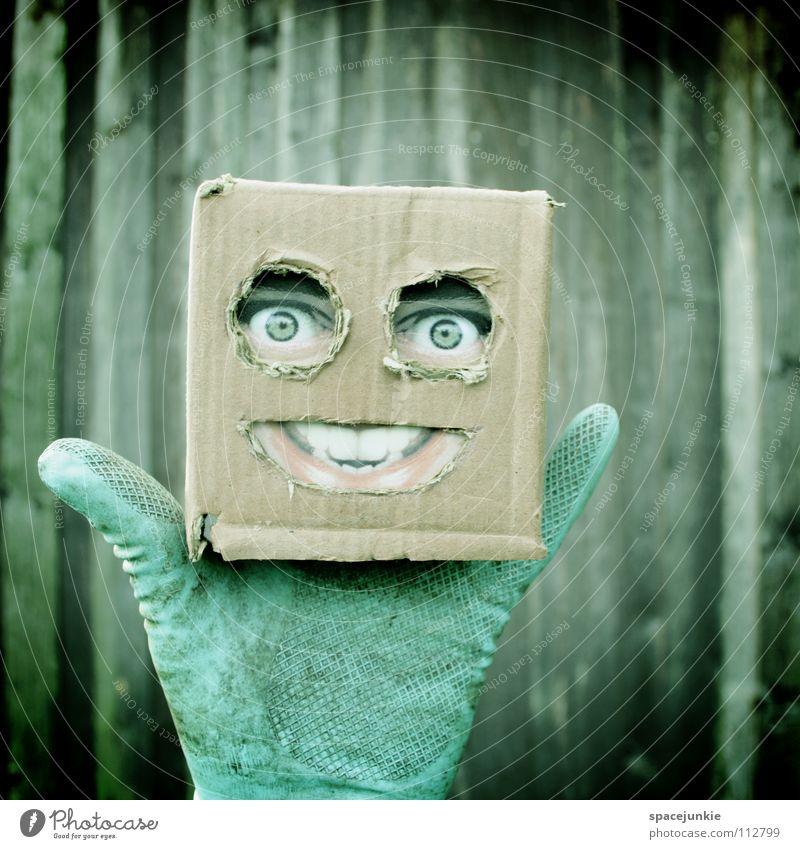 Living in a box Mann Freude Gesicht Wand Holz Maske Quadrat verstecken Puppe skurril Karton Freak Humor Handschuhe Versteck Handpuppe
