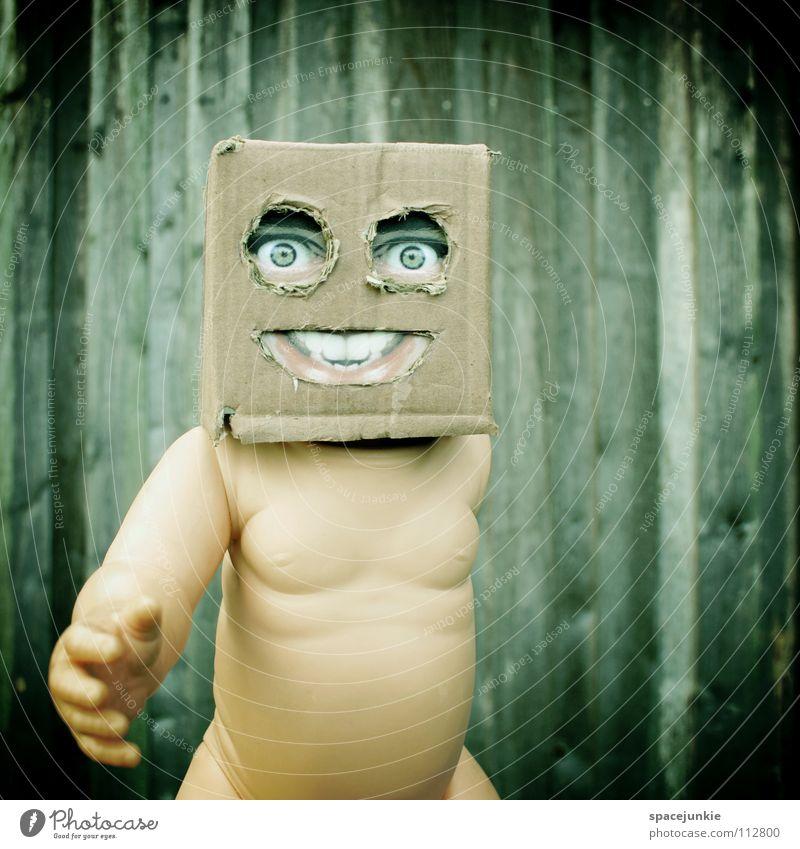 Living in a box (2) Freude Gesicht Wand Holz Maske Spielzeug Quadrat verstecken Puppe skurril Karton Freak Humor Versteck Papier Handpuppe