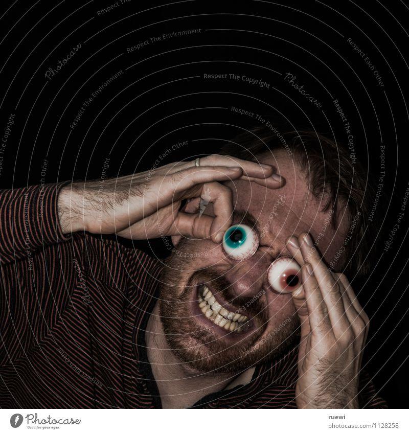 Heterochromie Gesicht Halloween Mensch maskulin Mann Erwachsene Auge Zähne Bart 1 30-45 Jahre Dreitagebart Behaarung Blick bedrohlich dunkel Ekel gruselig