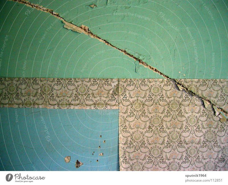 Fläche Versus Muster Wand Traurigkeit verfallen Gemälde Tapete Abrissgebäude