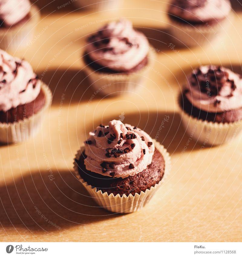 Himbeer-Schoko Cupcakes Lebensmittel Kuchen Dessert Süßwaren Ernährung Kaffeetrinken Koch Küche lecker süß Muffin Sahne Schokolade Konditorei Bäckerei Farbfoto