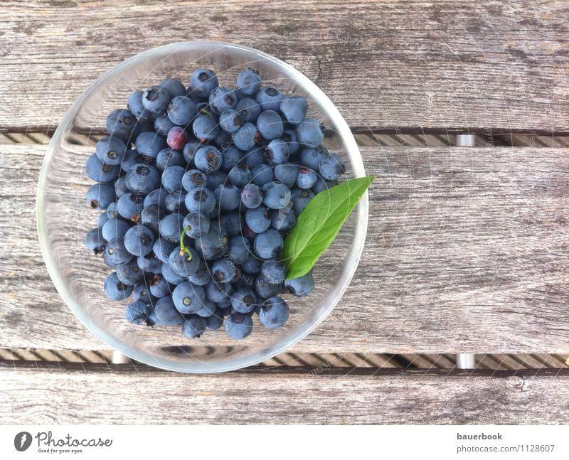 Blaubeerernte blau Sommer Essen Gesundheit Holz Glück Garten Lebensmittel Wohnung Frucht Zufriedenheit Glas Ernährung genießen Wellness lecker