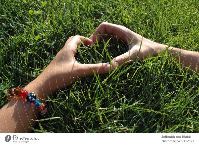Wie wär's ohne deine liebe Liebe? verrückt Sommertag Vertrauen Zusammensein Gras Armband Park Wiese grün groß mehrfarbig Mann Frau Leo Jule Leben hell Herz