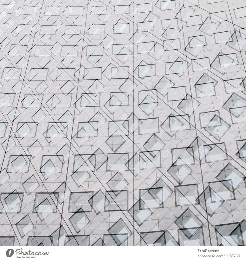 Auswahl Stadt Haus Hochhaus Bauwerk Gebäude Architektur Mauer Wand Fassade Fenster Beton Glas Linie ästhetisch fantastisch kalt grau schwarz weiß chaotisch