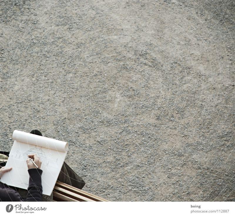 Residenzteaser Garten Park Kunst Papier Bank Gemälde zeichnen Burg oder Schloss Kies Block Entwurf Zeichnung Bleistift Marketing Kunsthandwerk Rollkragenpullover