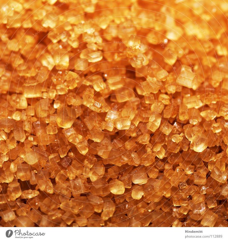 Zucker² III braun weiß körnig süß Bernstein glänzend Ecke hart Sirup Ernährung ungesund Hintergrundbild Strukturen & Formen Makroaufnahme Nahaufnahme Süßwaren