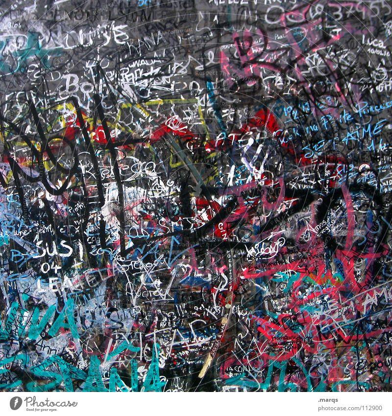 Sign here weiß Stadt rot schwarz Farbe Wand Graffiti grau Metall Kunst Schilder & Markierungen Schriftzeichen Buchstaben Kommunizieren Kultur schreiben