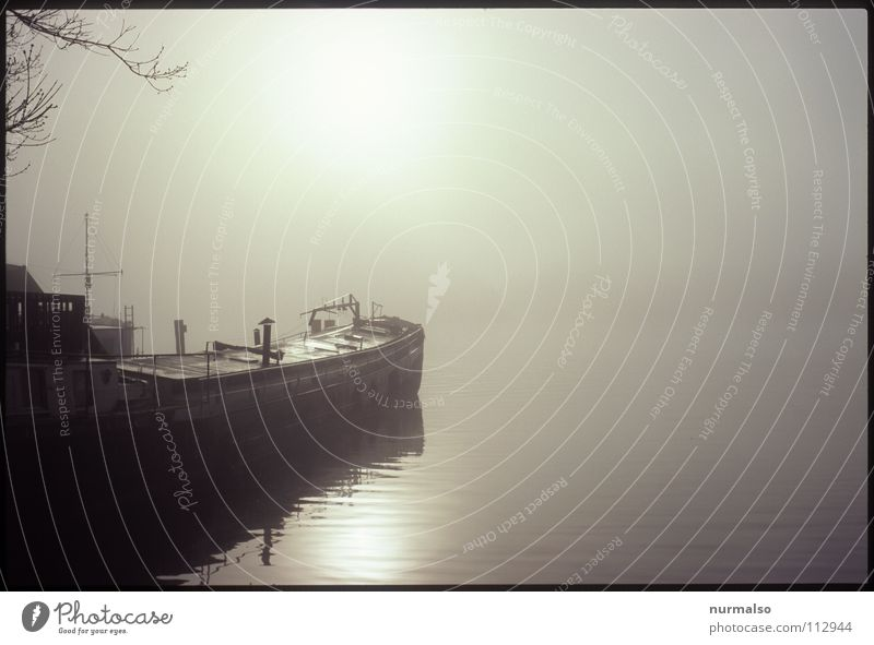 Nebel des Grauens 3 Hand Wasser Sonne kalt Herbst grau Wasserfahrzeug Stimmung Nebel Wassertropfen nass Seil Horizont Insel Fluss Bach