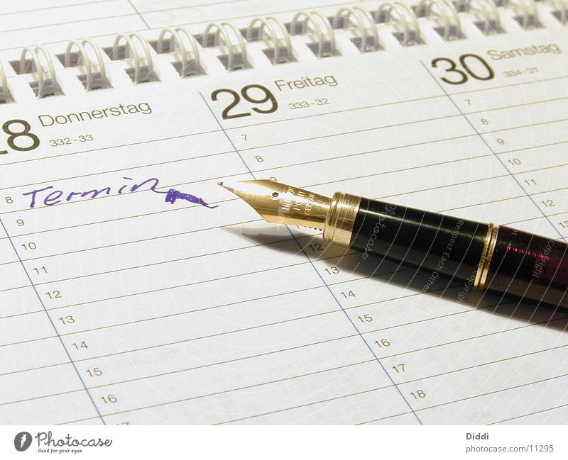 TERMIN Termin & Datum Verabredung Schreibgerät Kugelschreiber Füllfederhalter Tinte Kalender schreiben Feder Ziffern & Zahlen Business