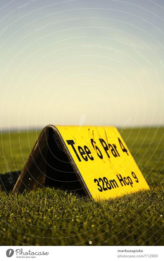 abschlag Feld Golfball Golfplatz Gras grün Himmel Sonnenaufgang Abschlag Ballsport Studium Ass golf course grass pitch Rasen sky Sport sports Tee verhaften Loch
