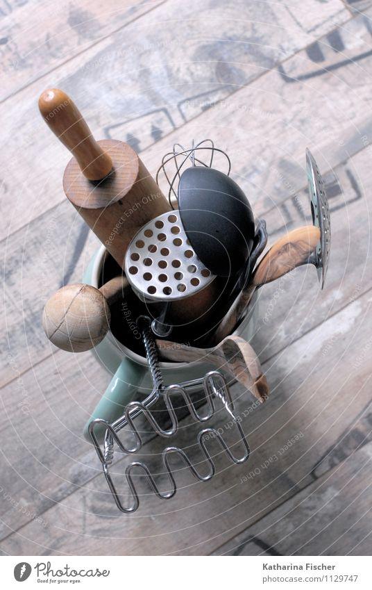 Küchenhilfen blau grün weiß schwarz Holz braun Metall Wohnung Dekoration & Verzierung Kunststoff Stahl silber Laminat Kochlöffel Nudelholz