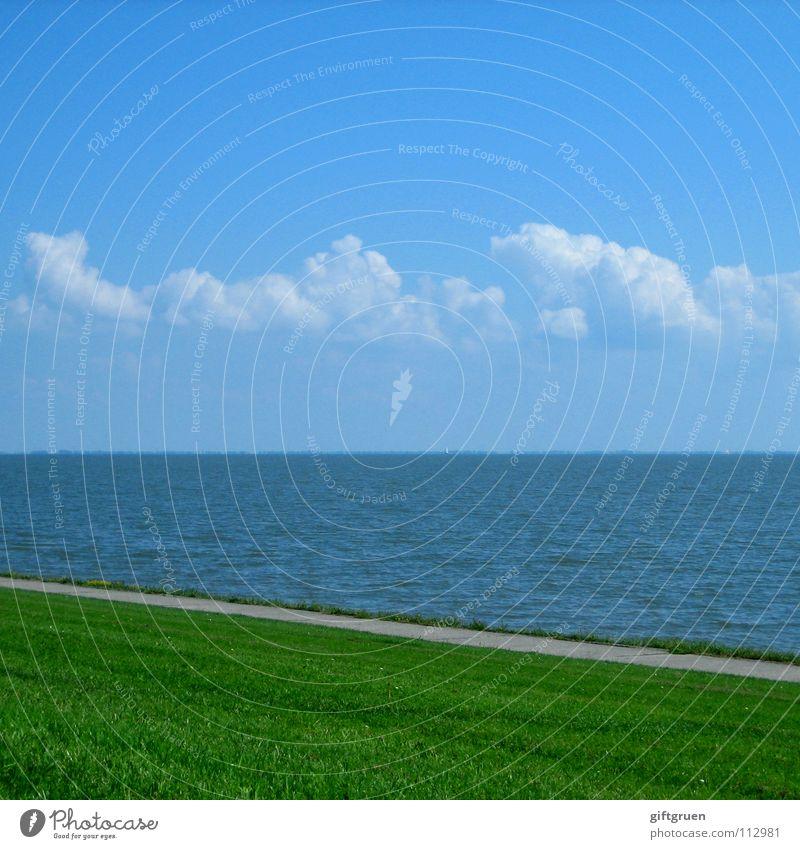 norddeutsche streifenvariation Himmel Meer grün blau Sommer Strand Wolken Wiese Gras Wege & Pfade Küste Horizont Streifen Nordsee gestreift minimalistisch