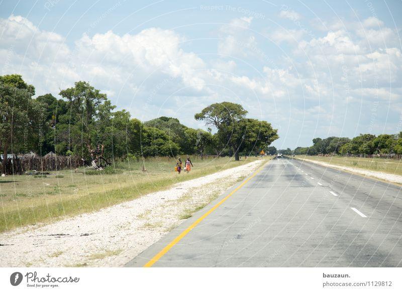 linksverkehr. Ferien & Urlaub & Reisen Tourismus Ferne Sommer Mensch Natur Landschaft Erde Himmel Wolken Schönes Wetter Baum Gras Sträucher Caprivi Namibia