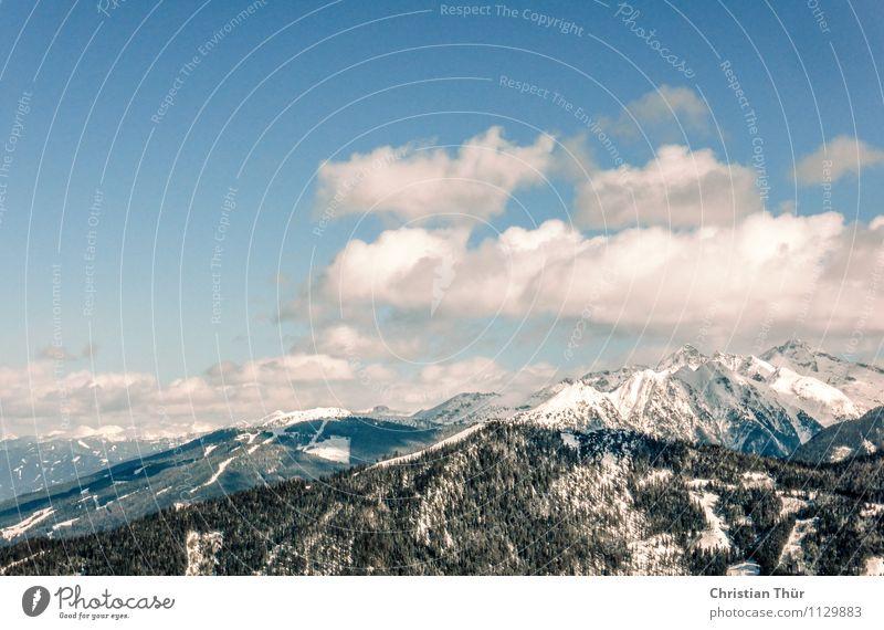 Gebirge / Winter Ferien & Urlaub & Reisen Erholung Wolken ruhig Ferne Berge u. Gebirge Leben Schnee Freiheit Tourismus Zufriedenheit Freizeit & Hobby Ausflug