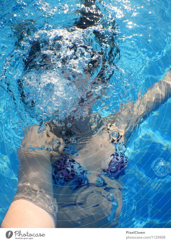 Wassernixe Mensch Kind Ferien & Urlaub & Reisen Jugendliche blau Junge Frau Meer Freude Strand feminin lustig Schwimmen & Baden Lifestyle Freizeit & Hobby