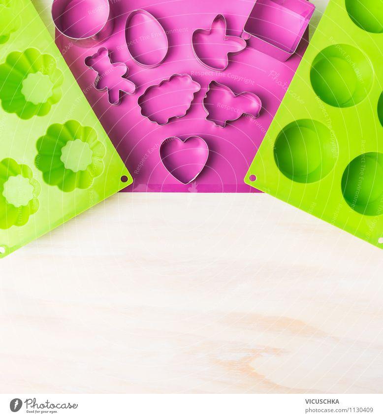 Kekse und Muffins backen Dessert Stil Design Tisch Küche Feste & Feiern Ostern Liebe Tradition Hintergrundbild Cupcake Gerät Symbole & Metaphern Backform