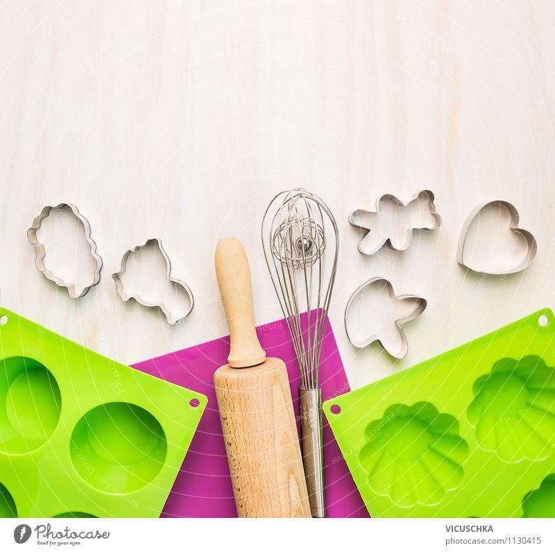 Küchenutensilien fürs Backen Stil Hintergrundbild Feste & Feiern rosa Design Freizeit & Hobby Tisch Herz Kochen & Garen & Backen Symbole & Metaphern Gastronomie