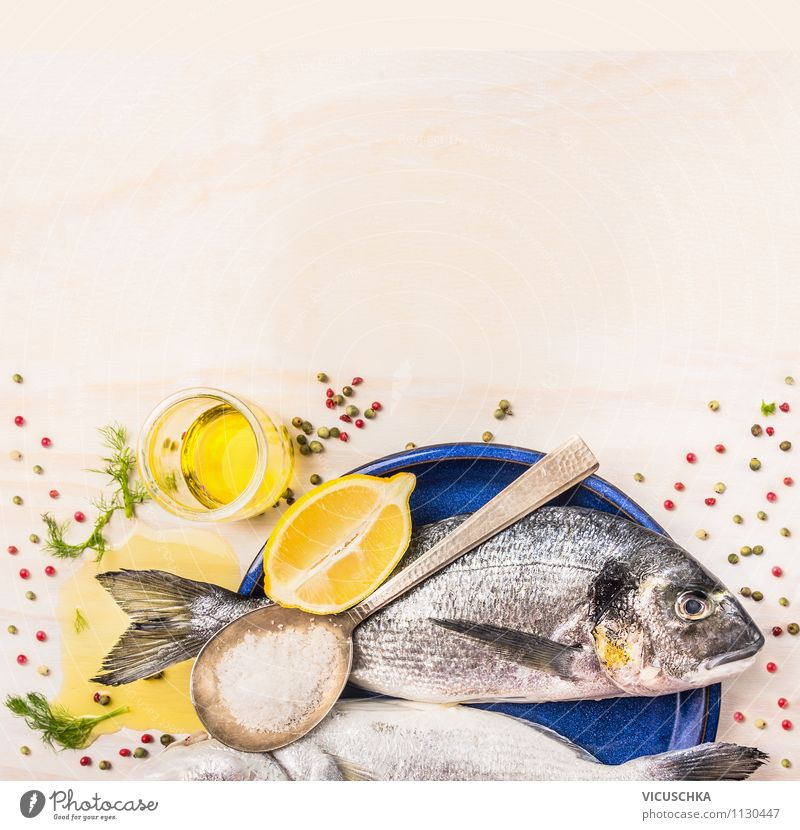 Hintergrund für Fischgerichte mit Dorade und Kochlöffel Lebensmittel Kräuter & Gewürze Öl Ernährung Mittagessen Abendessen Bioprodukte Vegetarische Ernährung