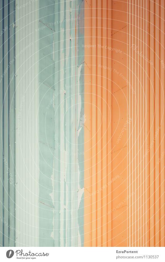 Trennung Stadt Haus Industrieanlage Fabrik Bauwerk Gebäude Architektur Mauer Wand Fassade Metall Stahl Linie Streifen ästhetisch grau orange Design Farbe