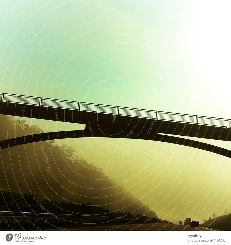 goldener osten Himmel blau Baum Sonne Wald Straße Landschaft braun gold Nebel Brücke fahren Autobahn Verkehrswege Osten Straßenrand