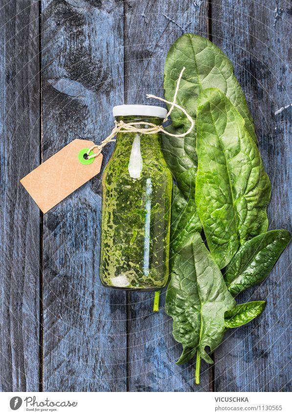 Grünes Spinat Smoothie on blauem Holztisch Lebensmittel Gemüse Salat Salatbeilage Kräuter & Gewürze Ernährung Bioprodukte Vegetarische Ernährung Diät Getränk