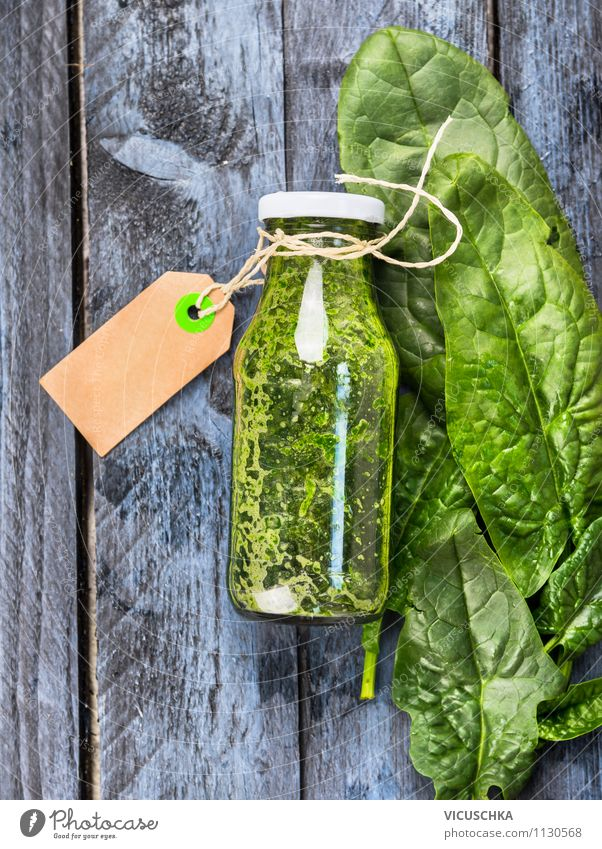 Spinat Smoothie im Glas auf blauem Holztisch grün Sommer Gesunde Ernährung Leben Stil Hintergrundbild Garten Lebensmittel Lifestyle Design Glas Tisch Getränk Kräuter & Gewürze Küche Gemüse