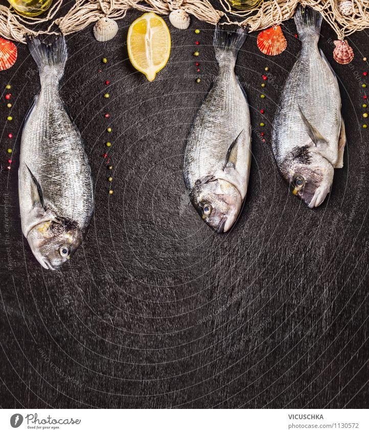 Rohe Dorado Fisch an Fischernetz Gesunde Ernährung schwarz Wand Stil Essen Stein Lebensmittel Freizeit & Hobby Design Tisch Kochen & Garen & Backen