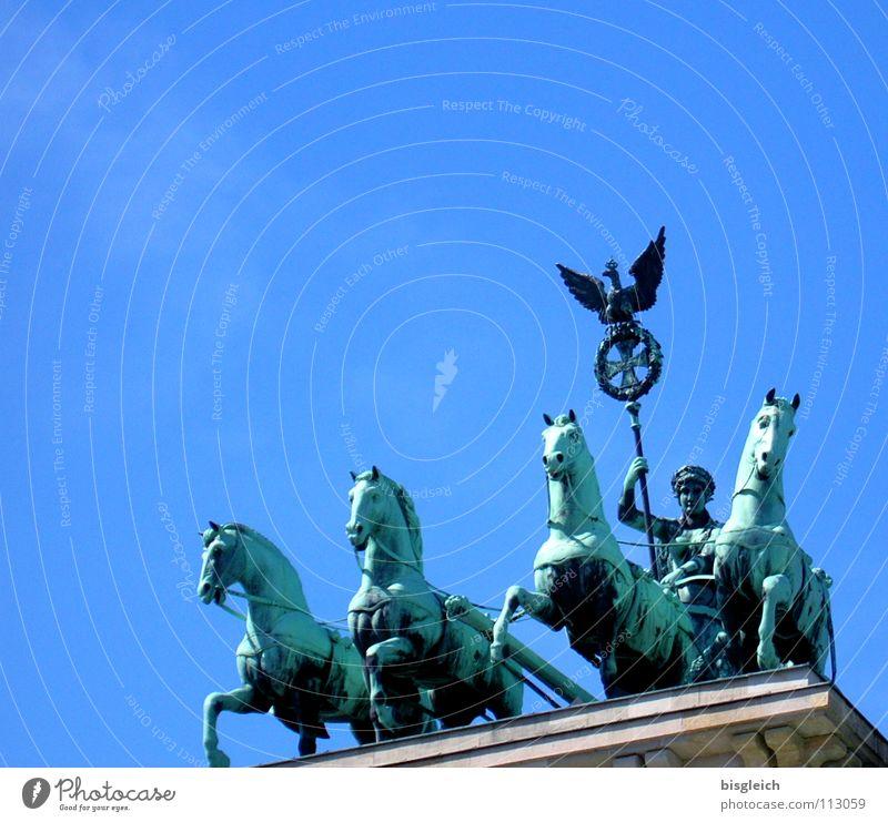 Quadriga Brandenburger Tor Pferd Außenaufnahme Kunst historisch Himmel Berlin Wahrzeichen Denkmal Streitwagen blau Ferne Freiheit Sehenswürdigkeit