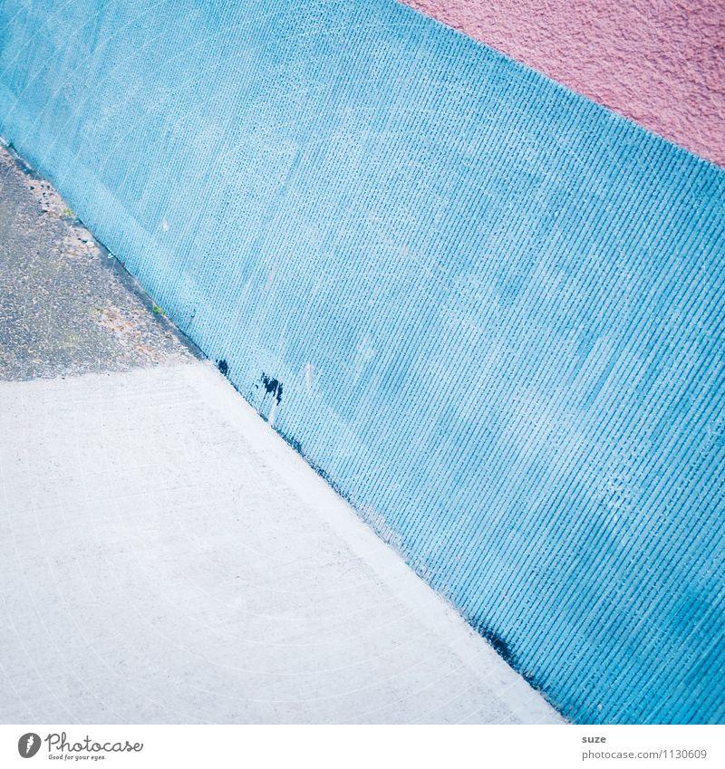 Gegen die Wand ... blau weiß Stil Mauer Hintergrundbild Linie Kunst Lifestyle rosa Fassade Design Ordnung modern Kreativität Ecke