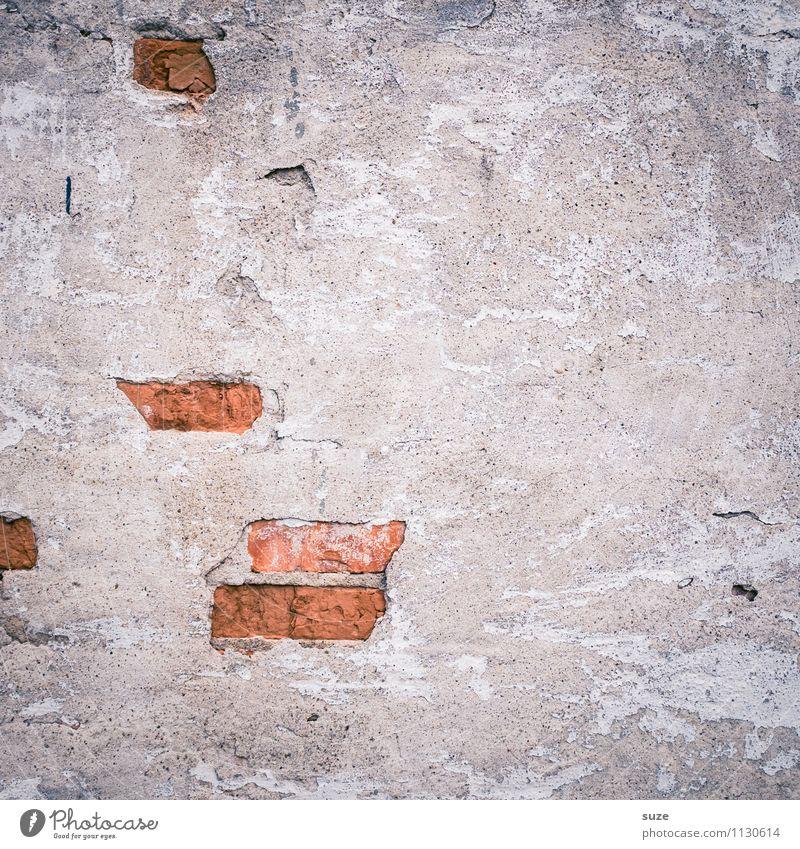 Klinker-Blinker Kunst Kunstwerk Haus Mauer Wand Fassade alt authentisch dreckig kaputt grau rot Verfall Vergangenheit Vergänglichkeit Hintergrundbild Beton Putz