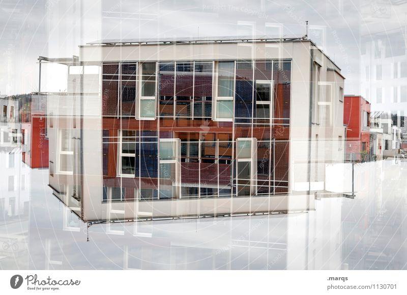 Bau Haus Himmel Wolken Bauwerk Gebäude Architektur Fassade Beton Glas außergewöhnlich trendy einzigartig modern verrückt rot weiß Perspektive Surrealismus