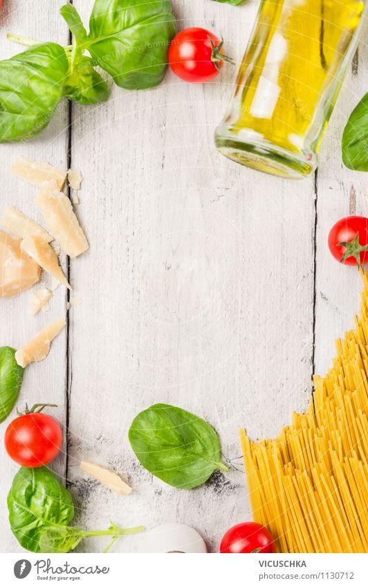 Spaghetti kochen, Zutaten Lebensmittel Gemüse Teigwaren Backwaren Kräuter & Gewürze Öl Ernährung Mittagessen Bioprodukte Vegetarische Ernährung Diät