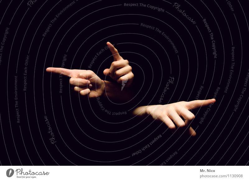 da.da.da. Mensch Hand Finger Zeichen berühren Irritation zeigen richtungweisend Richtung Zeigefinger gestikulieren Körperhaltung Gliedmaßen schwarz Fingerspiel