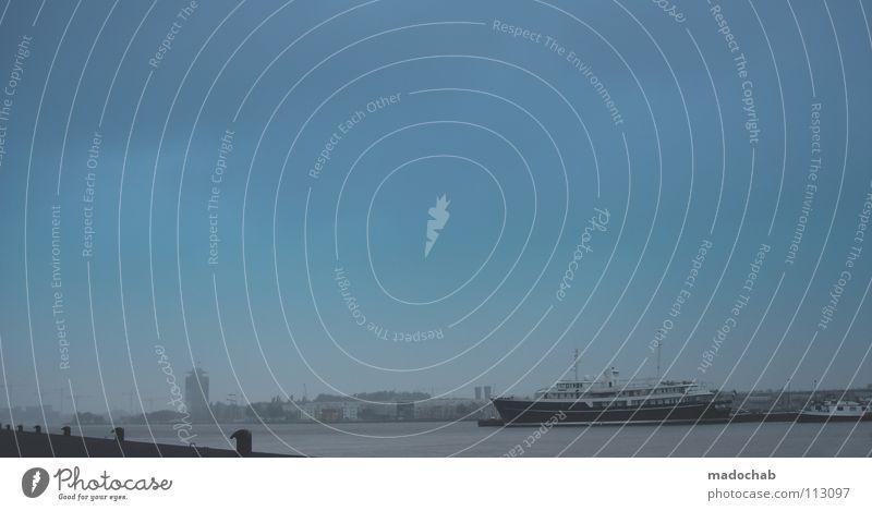 ENDLESS BLUE Himmel blau Wasser Meer See Wasserfahrzeug Verkehr Fluss Güterverkehr & Logistik Hafen Aussicht Sehnsucht Anlegestelle Langeweile Fernweh Anker