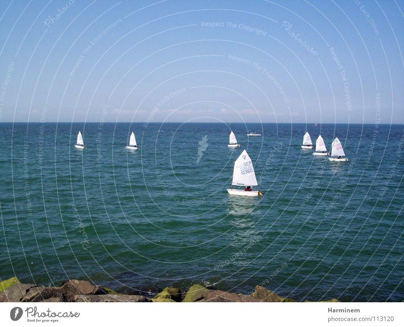 Segelboote weiß Meer blau Strand Ferien & Urlaub & Reisen Wasserfahrzeug Küste klein mehrere viele Sportveranstaltung Wohlgefühl Segel Segelboot Konkurrenz Regatta