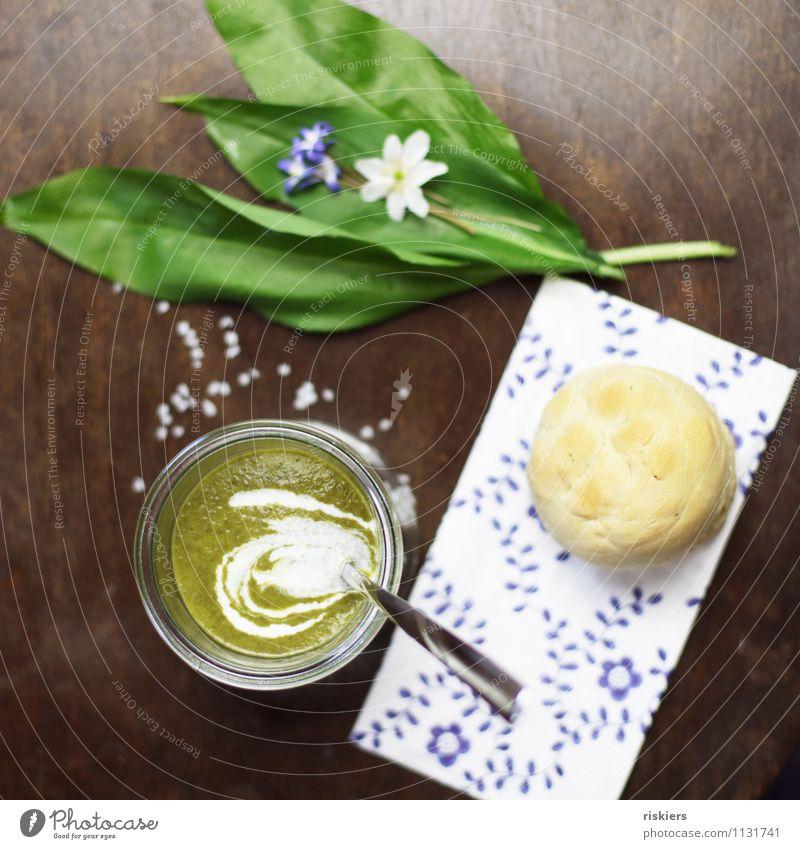 Bärlauchsüppchen grün Umwelt Lebensmittel Ernährung Kochen & Garen & Backen Kräuter & Gewürze Bioprodukte Backwaren Vegetarische Ernährung Abendessen Teigwaren