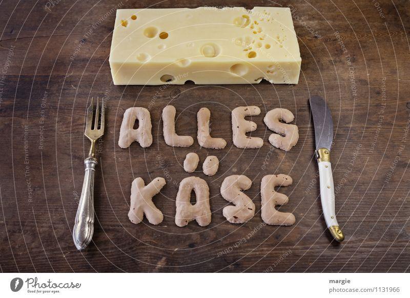 ALLES KÄSE II gelb Essen Gesundheit braun Schriftzeichen Fitness Buchstaben Bioprodukte Übergewicht Frühstück Wort Abendessen Diät Messer Picknick Fasten