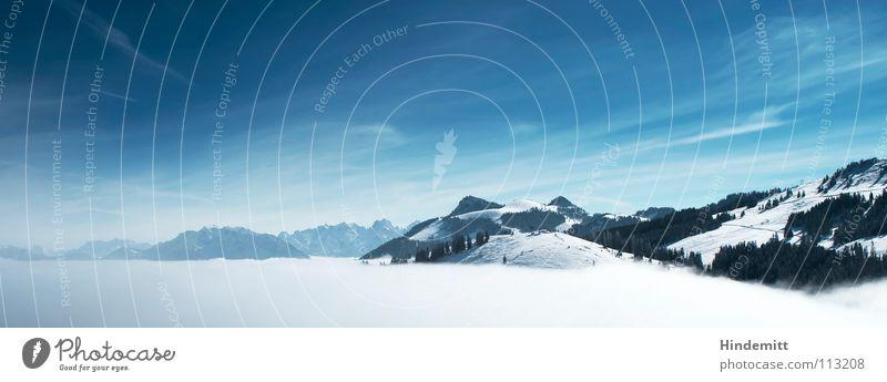 Wie der Sommer, so der Herbst ... Himmel weiß Baum Winter Wolken Schnee Berge u. Gebirge Nebel Alpen Aussicht fantastisch Gipfel Bayern Panorama (Bildformat)