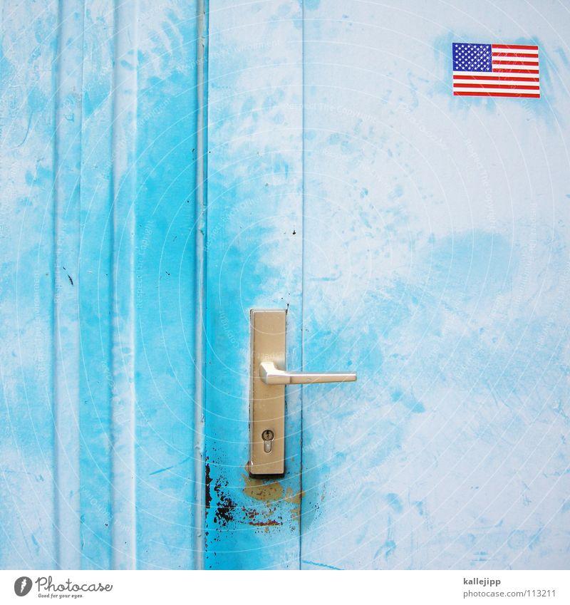 guantánamo Fahne Stars and Stripes Griff Bildausschnitt Anschnitt Migration himmelblau hell-blau Eingangstür